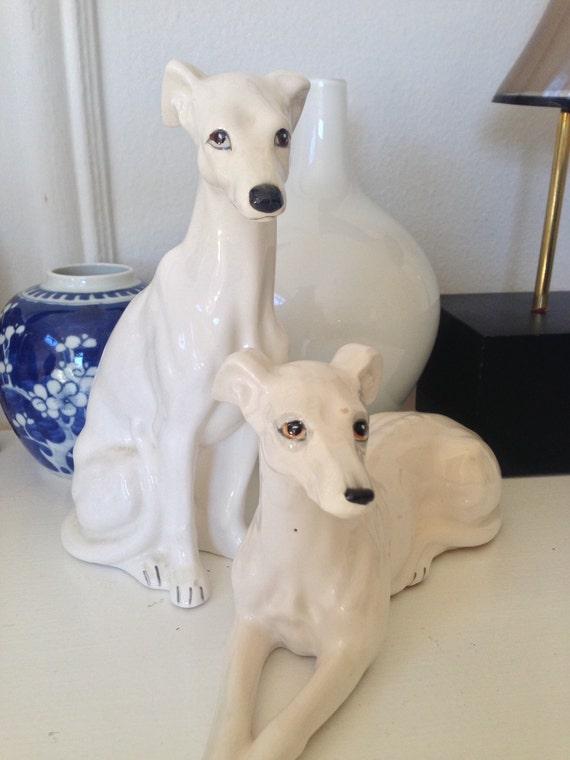 Vintage Greyhound Figurines Ceramic Greyhounds White Whippet