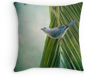 Bird Decor, Nature Decor, Blue Bird, Bird Cushion, Costa Rica Decor, Blue Grey Tanager, Bird Cushion Cover, Bird Throw Pillow