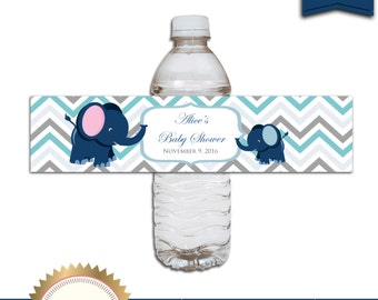Printable Baby Shower Water Bottle Labels, Elephant Baby Shower Ideas, Baby Boy, Digital File, EDITABLE text, Microsoft® Word Format