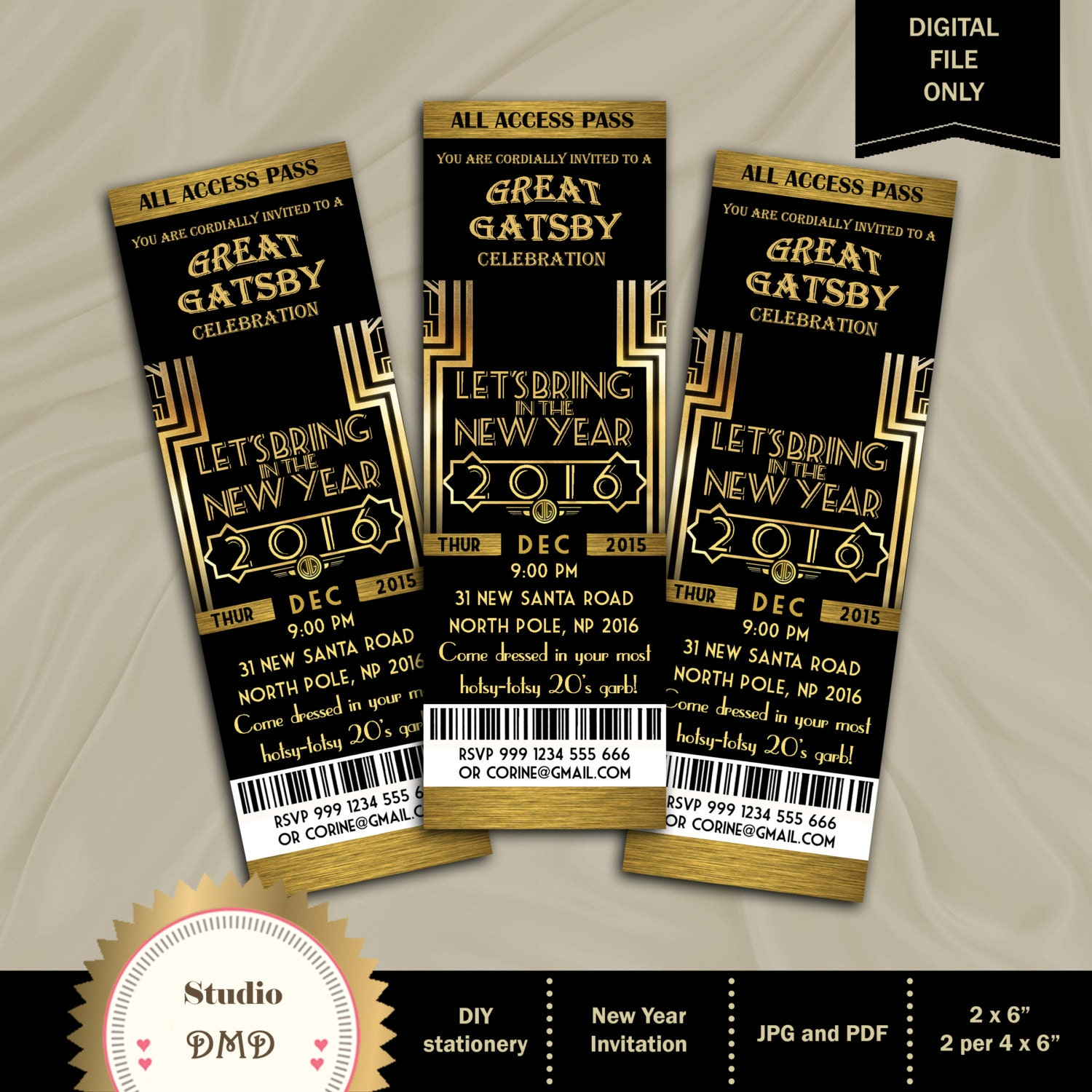 Great Gatsby Invitation New Year invitation New Year's