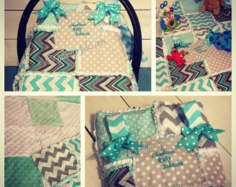 Rag Quilted Car seat Canopy/Quilt