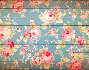 Shabby Wood Floral Photo Backdrop, Newborns Children photoshoot background, vintage floral wood floordrops , photo props D-8306