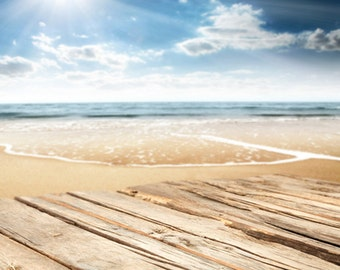 Beach Backdop, Newborn seaside Photography Backdrop D-7965