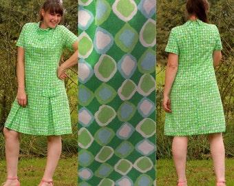 Vintage 70s Green Shift Dress, modern sz 10