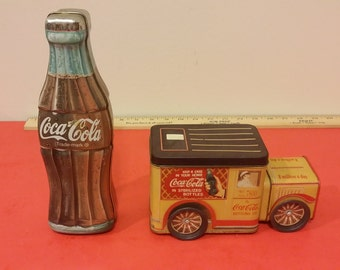 Coca Cola Tins, Tin Truck and Coke Bottle