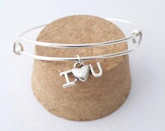 I Love You heart charm bangle bracelet