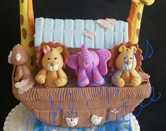 Noah's Ark Cake Decoration, Noah's Ark Baby Shower, Ark Cake Topper, Ark with Animals Topper, Noah's Ark Favors, Noah's Ark First Birthday