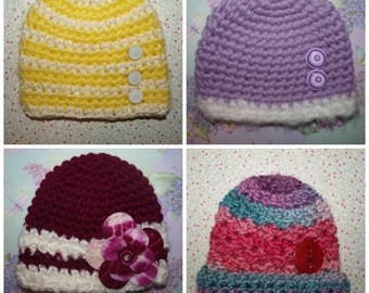 baby yellow and white hat, baby purple and white hat, baby beanies with buttons, cute shower gifts, baby beanies for girls, beanies for baby