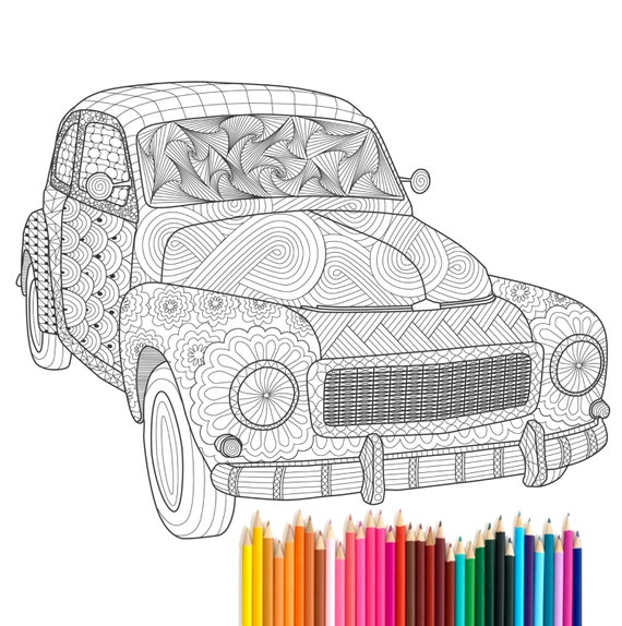 items similar to pdf printable adult coloring page zentangle volvo pv544 oldtimer poster. Black Bedroom Furniture Sets. Home Design Ideas