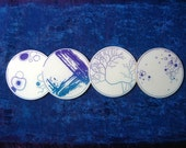 Sparkly Petri Dish Coasters, Purple & Teal, Resin and Cork / coaster set / biology home decor / gift for biologist / science art