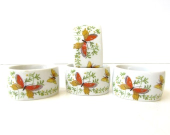 Vintage Porcelain Butterfly Napkin Rings - Orange Butterflies - Mid Century - Vintage Design