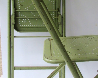 Vintage Metal Folding Chairs - Industrial - Olive Green- Original Paint -