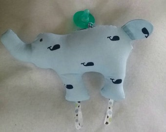 Stuffed Tagged elephant made with Beautiful Whale fabric print with (5) uses ribbons for teething/ super soft and cuddly/ bedtime/ pillow/