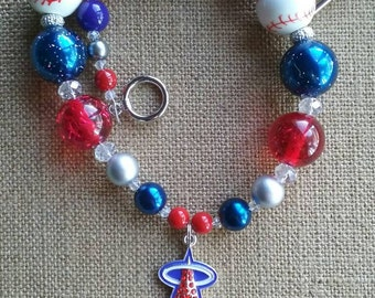 Adult Los Angeles Angels of Anaheim MLB Baseball  Bubble Gum Bead Necklace
