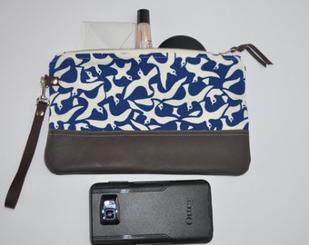 Large Blue Bird Leather Wristlet, Brown Leather Clutch, Leather Pouch