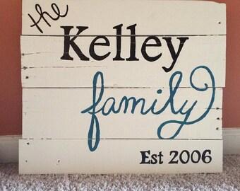 Family Established Board Wood Home Decor Sign