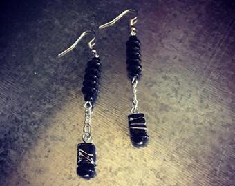 Black dangling earrings