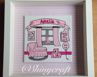 Hand painted personalised tile in a frame for newborn baby christening gift