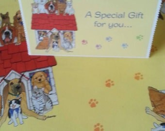 ASPCA Gift Wrapping Paper / Dogs and Cats / Pets Wrapping Paper with Card Two New Sheets