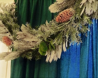 FREE SHIPPING 9ft Mixed Greens Winter Garland Mantle Garland Staircase Garland Eucalyptus Ivy Fern Pine Cone Garland Christmas Decoration