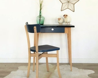 Mid century Table, Desk, desk & office chair, mid century moderne, vintage, 60s, blue color, Adèle model