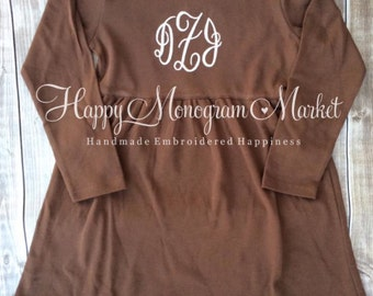 Infant Toddler Child Youth Girls Brown Ruffle Long Sleeve Dress Monogrammed Fall Harvest Halloween Thanksgiving Dress 12m 18 2 3 4 5 6 8 10
