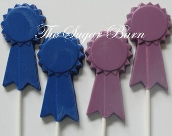 RIBBON AWARD CHOCOLATE Lollipop*12 Count*Blue Ribbon*Student Award*Medal*Student Achievement*1st Prize*Award Ceremony*Sports Award