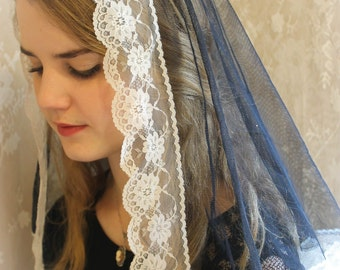 Evintage Veils~ Black and White Vintage Inspired NEW Mantilla Chapel Veil Soft and Light!