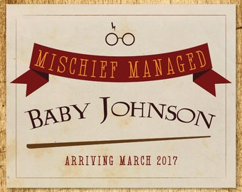 """Harry Potter Inspired Pregnancy Announcement Sign  