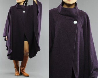 Deep Purple Wool Oversized Single Button Duster Cape Cloak / Trench Coat By CPI Women's 80's Vintage