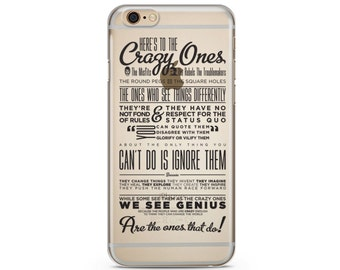 Here's To The Crazy Ones Clear iPhone Case, iPhone 6 plus clear case Transparent iPhone Case, iphone 7 case, iphone 7 plus case