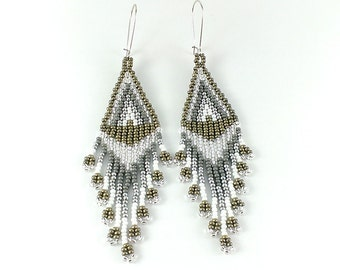 Beaded earrings Silver earrings Indian style Boho earrings Beads earring silver Seed bead Ash Gray Earrings Gray earrings Grey earrings