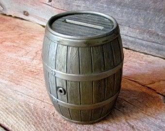 Vintage 1970's Cast Metal Barrel Bank