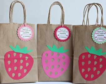 Strawberry Birthday Party Goody Bags - Strawberry Birthday Favor Bags - Strawberry Party Treat Bags - Strawberry Shortcake Party Bags