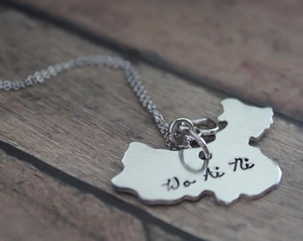 China Adoption Necklace, Adoption Jewelry, Adoption Gift, Gotcha Day, Wo Ai Ni, Chinese Map Necklace, Chinese Love Symbol, Ai, Family Day