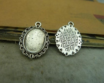 20pcs 10x14mm Antique Silver base,  bezel cup setting Pendant trays Wholesale bC3762