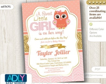 Coral Pink Gold Owl Shower digital Invitation.A Sweet little Girl is on her way, coral aqua,salmon,peach,light pink, glitter-aa87bCPG