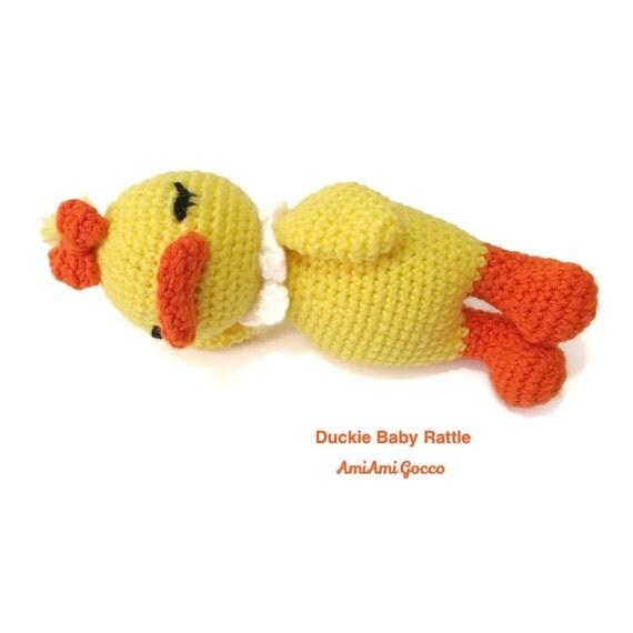 Amigurumi Baby Duck : Baby Rattle Amigurumi Duck Duckie Crochet Duck by AmiAmiGocco