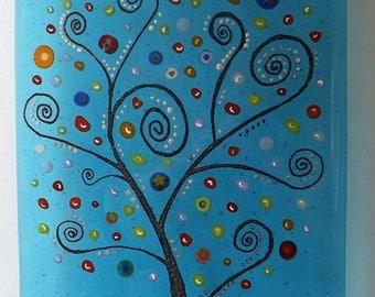 Fused glass art panel Tree of Life