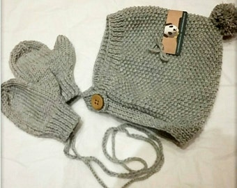 Hat and mittens, Knitted baby hat, matching mittens, baby hat and mitten set, knitted pixie cap, baby hat, toddler hat, made to order