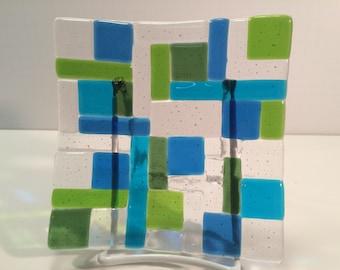 "6"" x 6"" fused glass plate - water blocks"