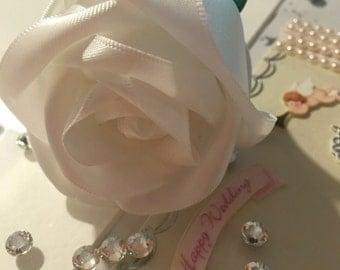 Wedding Signature Ribbon Rose Pen, Handmade Satin Rose