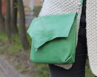 green handbag leather purse - soft  handbag - cross body purse hand sewn handbags leather shoulder bag crossbody purse