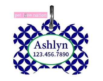 Personalized Pet Tag, Dog Tag ID Tag Preppy Blue And Green Tag With Name And Phone Number