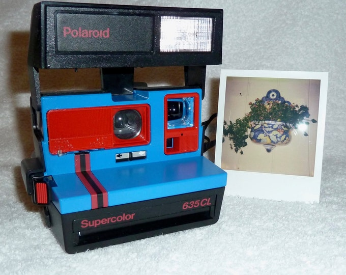 Polaroid Supercolor 635CL Red Stripe with Close Up Lens - Works Great, Upcycled Blue