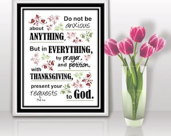 Gift Mom Grandma Worry Do not be Anxious Bible Verse INSTANT DOWNLOAD Christian Scripture art print wall decor