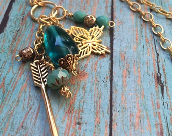 Long Gold Charm Necklace, Long Necklace, Dangle Charms, Arrow, Butterfly, Glass Bead Charms, Turquoise and Gold, Chunky Chain, Arrow Pendant