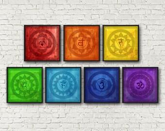 Seven Archival Quality Chakra Fine Art Print Set: Chakra Healing Prints