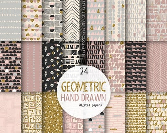 Pink gold glitter digital paper geometrical pattern old vintage colors pink blush gray black beige geometric papers design images graphic