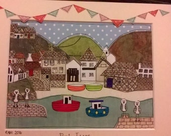 Port Isaac, quirky, paper collage ,Handmade paper collage favourite place picture, Port Isaac, Cornwall